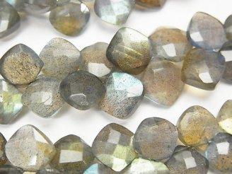 宝石質ラブラドライトAAA- ダイヤカット 半連/1連(約18cm)