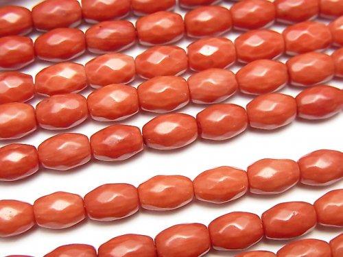 赤珊瑚・レッドコーラル(染) ライスカット7×5×5mm 1連(約37cm)