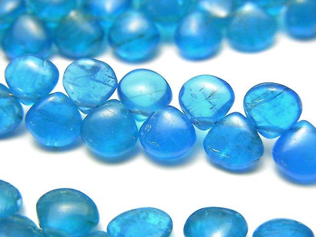 宝石質ネオンブルーアパタイトAAA- マロン(プレーン) 1連(約18cm)