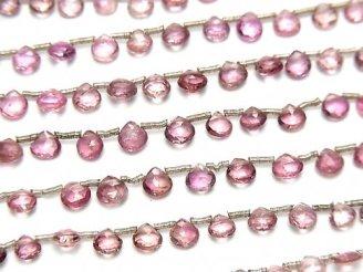 宝石質ピンクトルマリンAAA- 小粒マロン ブリオレットカット 半連/1連(約17cm)