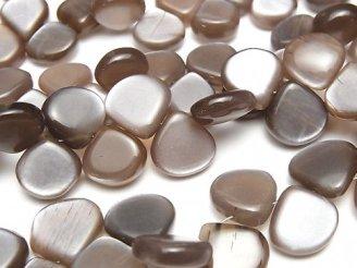 天然石卸 宝石質チョコレートムーンストーンAAA- マロン(プレーン) 半連/1連(約14cm)