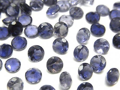 宝石質アイオライトAAA 穴なしラウンドファセットカット5×5mm 5粒