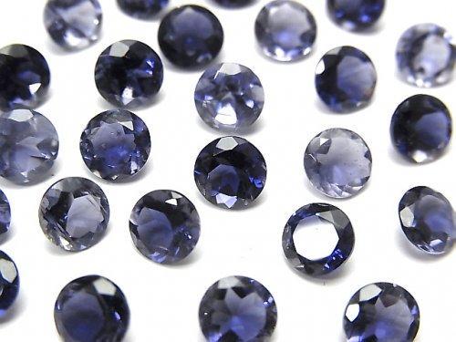 【動画】宝石質アイオライトAAA 穴なしラウンドファセットカット6×6mm 5粒