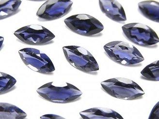 宝石質アイオライトAAA 穴なしマーキスファセットカット10×5mm 5粒1,180円!