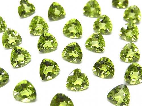 宝石質ペリドットAAA 穴なしトライアングルファセットカット7×7mm 2粒