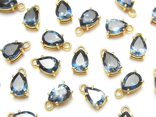 宝石質ロンドンブルートパーズAAA 枠留めペアシェイプファセットカット7×5mm 18KGP 2個