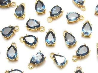 【動画】宝石質ロンドンブルートパーズAAA 枠留めペアシェイプファセットカット7×5mm 18KGP 2個