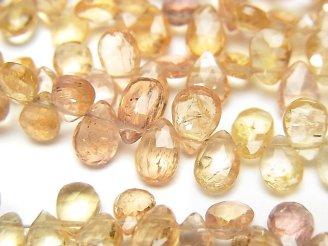 天然石卸 宝石質インペリアルトパーズAAA- ペアシェイプ ブリオレットカット カラーグラデーション 半連/1連(約18cm)