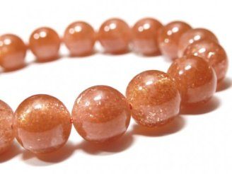 天然石卸 1点もの!宝石質サンストーンAAAA ラウンド11mm 1連(ブレス) NO.85