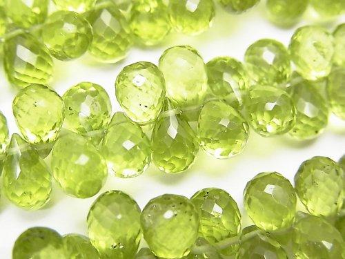 【動画】宝石質ペリドットAAA- ドロップ ブリオレットカット 1/4連〜1連(約18cm)の画像