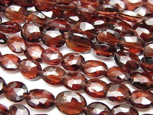 宝石質モザンビークガーネットAAA- オーバルカット 半連/1連(約22cm)