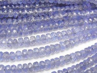 天然石卸 宝石質タンザナイトAAA ボタンカット 半連/1連(約40cm)