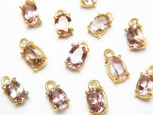 宝石質ピンクトルマリンAAA 枠留めオーバルファセットカット6×4mm 2個の画像