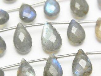 天然石卸 1連2,980円!宝石質ブルーラブラドライトAAA- ペアシェイプ ブリオレットカット 1連(約17cm)