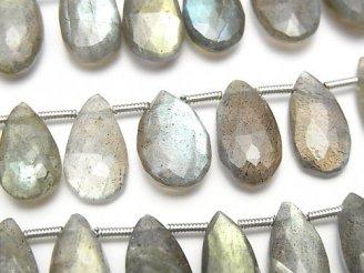 天然石卸 宝石質ラブラドライトAAA- ペアシェイプ ブリオレットカット 半連/1連(約20cm)