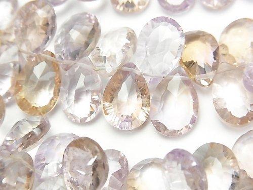 【動画】宝石質アメトリンAAA ペアシェイプ コンケーブカット 半連/1連(約18cm)
