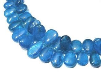 天然石卸 1点もの!宝石質ネオンブルーアパタイトAAA- ペアシェイプ(プレーン) 1連(約18cm)