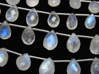 1連2,980円!宝石質レインボームーンストーンAAA- ペアシェイプ ブリオレットカット サイズグラデーション 1連(約17cm)