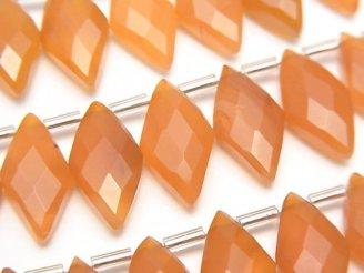 天然石卸 1連1,580円!宝石質カーネリアンAAA- ダイヤカット16×8mm 1連(約9cm)