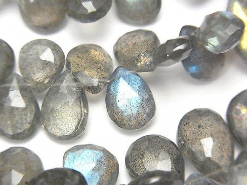 宝石質ラブラドライトAAA- ペアシェイプ ブリオレットカット 半連/1連(約18cm)