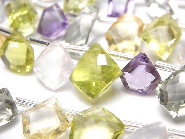 【動画】宝石質いろんな天然石AAA ファンシーシェイプファセットカット 1連(13粒)