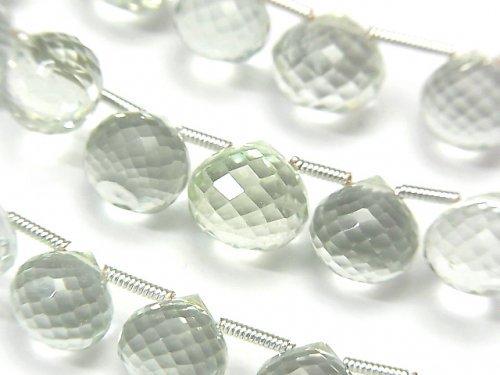 宝石質グリーンアメジストAAA オニオン ブリオレットカット 1連(約18cm)