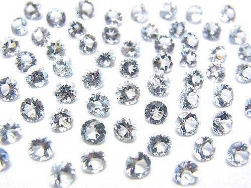 宝石質アクアマリンAAA 穴なしラウンドファセットカット4×4mm 3粒