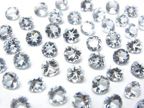 宝石質アクアマリンAAA 穴なしラウンドファセットカット5×5mm 2粒