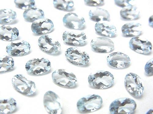 宝石質アクアマリンAAA 穴なしオーバルファセットカット6×4mm 2粒