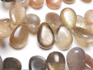 天然石卸 宝石質ゴールデンシャイン ブラウンムーンストーンAA++ ペアシェイプ(プレーン) 半連/1連(約22cm)