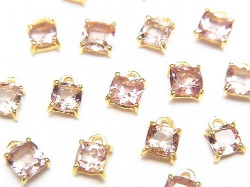 宝石質ピンクトルマリンAAA 枠留めスクエアファセットカット4〜5×4〜5mm 2個