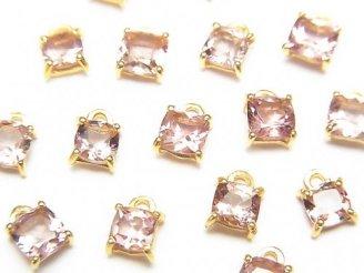 宝石質ピンクトルマリンAAA 枠留めスクエアファセットカット4〜5×4〜5mm 2個980円!