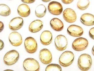 天然石卸 宝石質インペリアルトパーズAAA- オーバル カボション6〜6.5×5mm 4個1,480円!