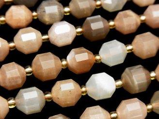 天然石卸 1連2,980円!宝石質マルチカラームーンストーンAA+ 36面カット10×9mm 1連(約37cm)