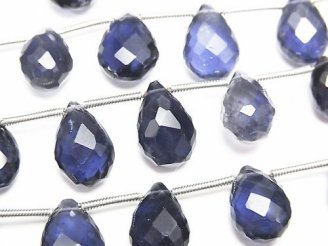 1連3,980円!宝石質アイオライトAAA- ペアシェイプ ブリオレットカット 1連(約18cm)