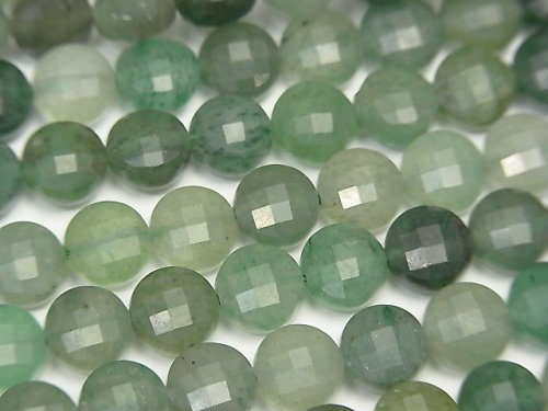 【素晴らしい輝き】グリーンアベンチュリン コインカット6×6×4.5mm 1連(約37cm)