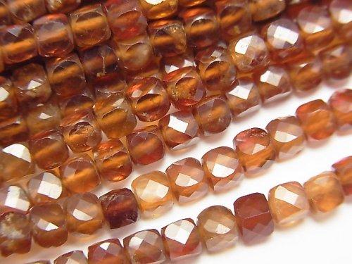 【動画】【素晴らしい輝き】宝石質ヘソナイトAAA- キューブカット3.5×3.5×3.5mm 1連(約36cm)