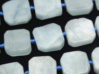 天然石卸 アクアマリンAA フラットタンブル 半連/1連(約38cm)