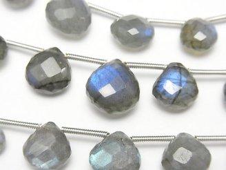 天然石卸 1連2,780円!宝石質ブルーラブラドライトAAA- マロン ブリオレットカット 1連(約15cm)