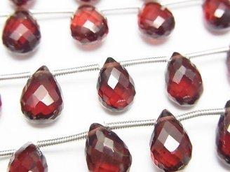 天然石卸 1連3,980円!宝石質モザンビークガーネットAAA ペアシェイプ ブリオレットカット 1連(15粒)