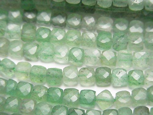 【素晴らしい輝き】グリーンアベンチュリン キューブカット4×4×4mm 1連(約38cm)