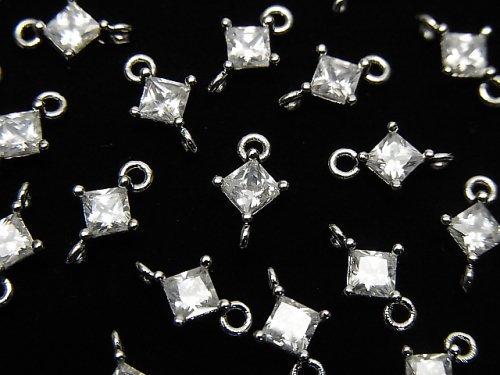 メタルパーツ ダイヤ型 両カンチャーム シルバーカラー(CZ付) 3個
