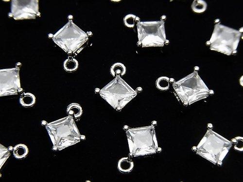 メタルパーツ ダイヤ型 チャーム シルバーカラー(CZ付) 2個