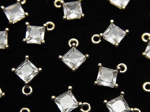 メタルパーツ ダイヤ型 チャーム ゴールドカラー(CZ付) 2個