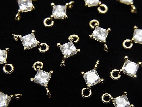 メタルパーツ ダイヤ型 両カンチャーム ゴールドカラー(CZ付) 3個