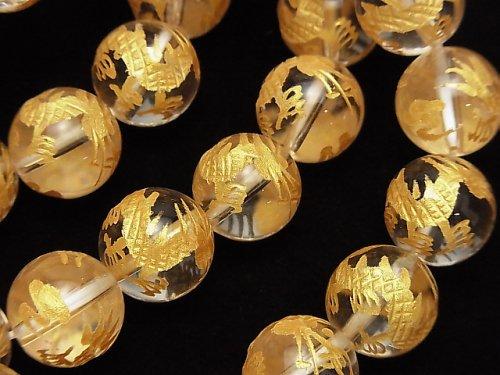 金色!青龍(四神獣)の彫刻入り!クリスタルAAA ラウンド10・12mm 半連/1連(ブレス)