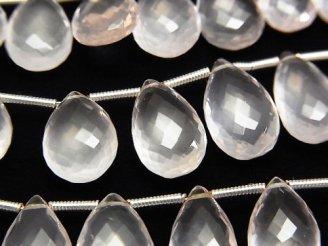 宝石質ローズクォーツAAA ペアシェイプ ブリオレットカット 半連/1連(約20cm)