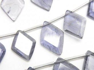 1連2,780円!宝石質アイオライトAAA- ダイヤカット サイズグラデーション 1連(約16cm)