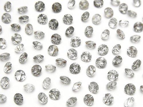宝石質トルマリンクォーツAAA- 穴なしラウンドファセットカット4×4mm 10粒