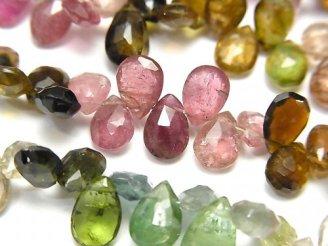 宝石質マルチカラートルマリンAA++ ペアシェイプ ブリオレットカット 半連/1連(約18cm)